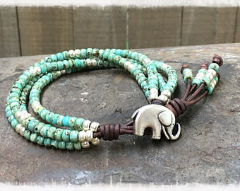 Elephant Wrap Bracelet/ Seed Bead Leather Bracelet/ Beaded Wrap Bracelet/ Elephant Jewelry/ Boho Wrap Bracelet/ Bohemian Bracelet.