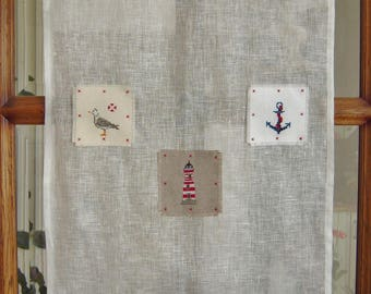 Curtain linen cross-stitched seaside theme