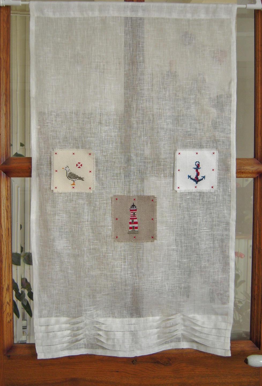 rideau en lin brod au point de croix th me bord de mer. Black Bedroom Furniture Sets. Home Design Ideas