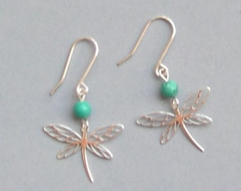EARRINGS Dragonfly EARRINGS in silver Sterling and turquoise gemstone bead