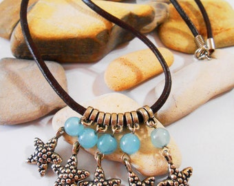 Starfish Jewelry Set Aqua Blue Agate Leather Starfish Charm Necklace & Earrings Chandelier Necklace Bolivian Jewelry Summer Beach Jewelry
