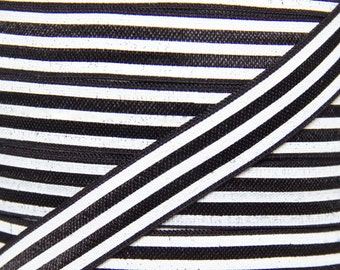 Black and White Stripe Fold Over Elastic - Elastic for Baby Headbands and Hair Ties - 5 Yards 5/8 inch Printed FOE