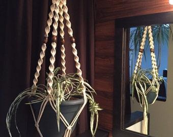 Macrame Plant Hanger Vanilla Sand Black Coffee Orange Ivory Navy Blue  Walnut Beads