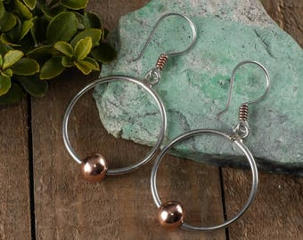 COPPER & STERLING SILVER Hoop Earrings - Sterling Silver Earrings, Copper Jewelry, Copper Hoops, Two Tone Earrings, Silver Jewelry J1159