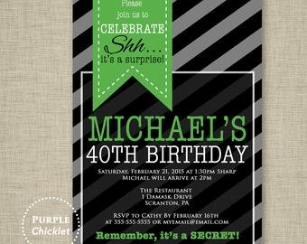 Surprise Party 40th Birthday Invitation Mens Masculine Invite Green Black Gray Party Invite Stripes Adult Party Invite Printable Invite 243