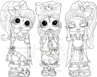 INSTANT DOWNLOAD Digital Digi Stamps Big Eye Besties Big Head Dolls Digi IMG812 By Sherri Baldy