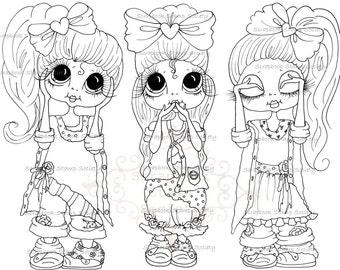 INSTANT DOWNLOAD Digital Digi Stamps Big Eye Besties Big Head Dolls Digi IMG812 By Sherri Baldy