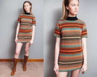 Vintage 1960's | Mid Century | Sweater | Mini | MOD | Mock Turtleneck | Dress | M