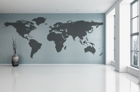World map wall decal vinyl wall sticker decals home decor art gumiabroncs Images