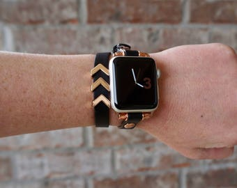 Rose Gold and Black Double Wrap Leather Apple Watch Band Strap for iWatch, Adapter 38mm/42mm, with Rose Gold Accents and Slide Charms