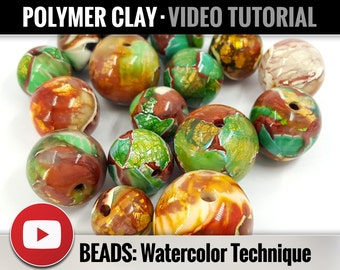 Polymer Clay Tutorial Vol.11: DIY How to make «Beads in Watercolor Technique from Crackle Scraps», New Technique, Instant Access
