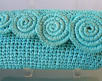 Vintage Robin Egg Blue Raffia Clutch Bag by Dayne Taylor