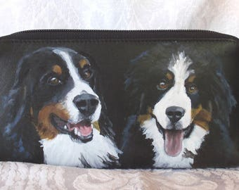 Large Double Zipper Wallet Custom Painted FRONT only with YOUR Pet
