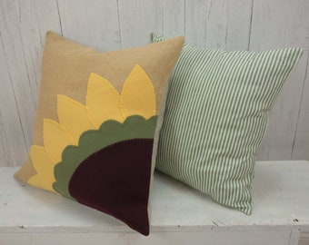 Sunflower, Sunflower Gift, Farmhouse Pillow, Burlap Pillow, Throw Pillow, Floral, Pillow Cover, Organic Cotton, Porch Decor, Outdoor Pillow