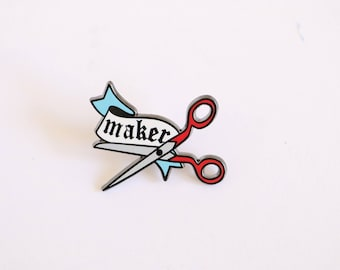 Maker Pin, crafty enamel pin, hard enamel pin, lapel pin, enamel pin set, artist enamel pin, cute enamel pin, scissor enamel pin,