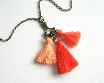 Bohemian Tassel Necklace - bohemian jewelry, tassel necklace, boho necklace, orange, brass, mini tassels, Summer necklace, festival necklace
