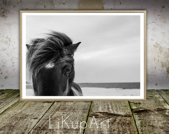 Horse Print, Horse Art, Horse Wall Art, Horse Photo, Black White, Printable Art, Photography, Instant Download, Large Poster, Modern Minimal