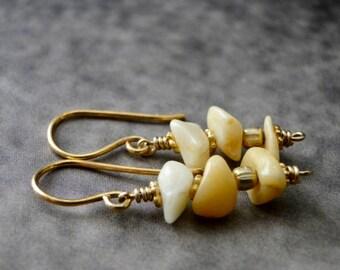 Earrings / Genuine Opal Earrings / 14k Gold Filled Earrings / Women's Jewelry / Holiday Gift / Handmade Earrings / Dangle Earrings