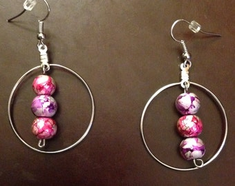 Hooped Earrings with Dropped Center