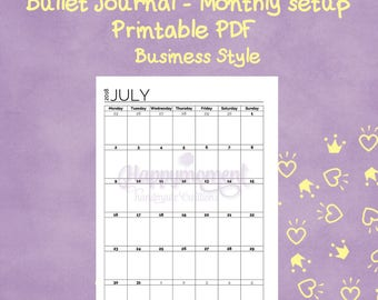 Bullet Journal 2018 monthly calendar | July - December | A4 or A5 printable planner sticker