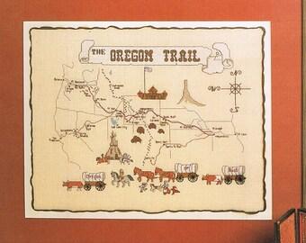 Oregon Trail Counted Cross Stitch Pattern - Pioneer Cross Stitch - Map Cross Stitch - Vintage Cross Stitch