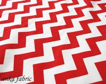 Red Medium Chevron Fabric By The Yard white