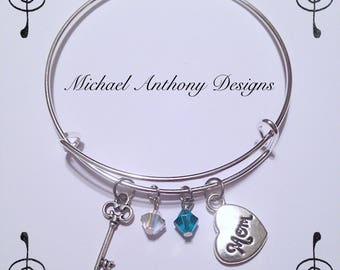 Key to Moms Heart Bangle Bracelet - Choose Your Swarovski birthstones