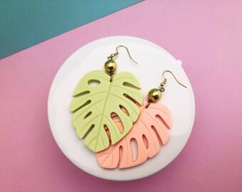 Pastel Monstera Earrings