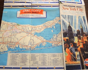 Tourgide Map New York City (1960s) Gulf Oil and New York City Street Number Guide