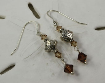 SALE Brown Crystal Earrings