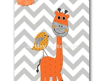 Giraffe Nursery Kids wall art Baby Nursery Decor Baby Boy Nursery Kids Art Baby Room Decor Nursery Print bird gray orange