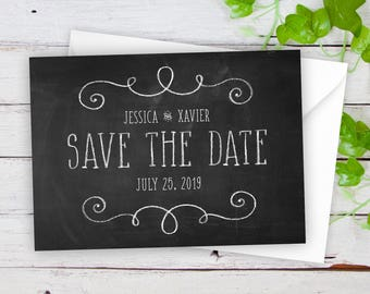 """Save The Date Cards - 5"""" x 7"""" Chalkboard Wedding Announcement Cards - Save The Dates - Personalized Save the Dates - Photo Cards - #satd-277"""