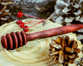 Wooden Honey Dipper Stick for Honey Jar whith Handle Mixing Useful Bee Honey #D2