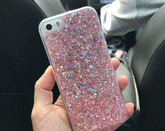 Pink glitter soft silicone iPhone case SE 5 5s 6 6s 6plus 7 7plus 8 8plus X available instant dispatch modern abstract holographic