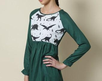 Sale, Green dress, Day dress, Casual dress, Cocktail dress, Women, Mini dress, Women winter dress, Boat neck, dinosaur print, jurassic park