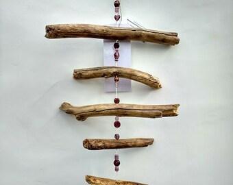 Wind chime wood glass driftwood mobile garland yard art