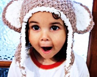 12 to 24m Toddler Monkey Hat Brown Monkey Earflap Hat Baby Hat Unisex Monkey Beanie Monkey Ears Earflap Toddler Photo Prop