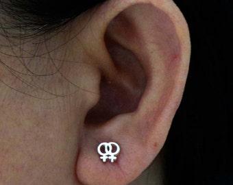 Silver Lesbian Earring - Female Symbol Posts Earring, Lesbian Gay Pride, LGBT Pride Women Stud, Pride Jewelry, Lesbian Couple Gift