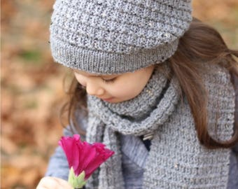 Slouchy Hat and Scarf HIVER Knitting Pattern (Toddler, Child, Adult sizes) - English, Russian
