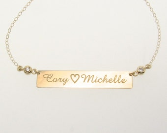 Diamond Nameplate Necklace, Can Engrave 14K Gold Bar Necklace As Seen on Kim Kardashian. Also Available As A Bracelet