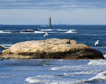 Beautiful view, Well Rock, Minot Light, Scituate, MA, beach decor, seascape, lighthouse, south shore, New England, coastal, signed print