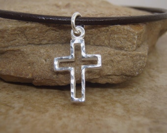 Boy's Cross necklace - Boy's First Communion gift - Hammered Sterling Silver Cross - Jewelry for Boys - Photo NOT actual size