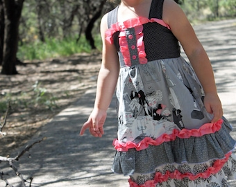 Girl's Boutique Ruffle dress PDF pattern tutorial for children, babies and toddlers Malibu Mega Ruffle Dress INSTANT DOWNLOAD