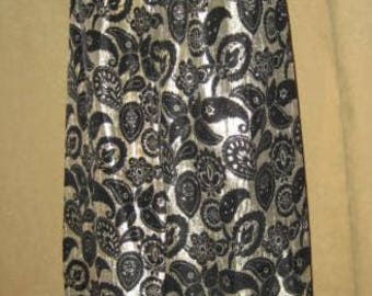 Brocade Skirt Maxi Gold & Black M 60s Vintage