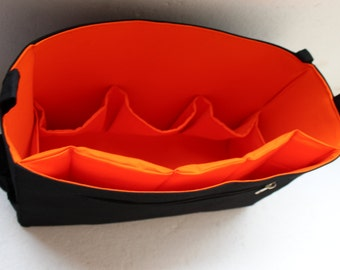 XL Bag organizer for YSL tote Bag 13.5wide x 9.5 height x 4.5 deep - Black and Orange color