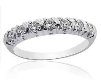 Platinum Round Brilliant Diamond Wedding Ring, 55ctw