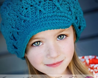 Apple Cap in Teal, 5T-Preteen Crochet Hat, ready to ship, newsboy hat, newsgirl hat, teal hat, hat with brim, childrens hat, child hat
