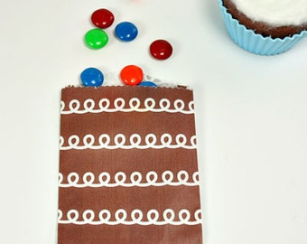 10 Mini Chocolate Frosting Little Bitty Food Safe Flat Paper Craft Bag