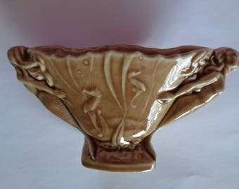 Vintage Signed Wade  Large Brown Mermaid Vase