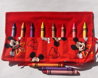 Crayon Roll Up Crayon Holder Mickey Mouse On Red - Holds 8 Crayons